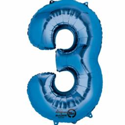 34 in Super Shape Foil Number Balloon Blue No3
