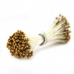 White & Gold Medium Round Pearl Stamens