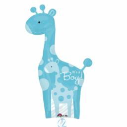 Dad & Baby Blue Giraffes SuperShape XL Foil Balloon 42 x 25 inch