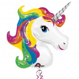 "Rainbow Unicorn SuperShape Foil Balloon 33""/83cm x 29""/73cm"