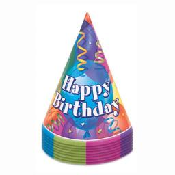 Happy Birthday Kids Party Paper Cone Hats Pack of 8