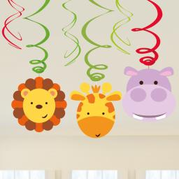 Jungle Friends Hanging Paper Swirl Decorations pack of 6 (3x60cm & 3x45cm Long)