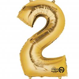 "Number 2 Gold Minishape Foil Balloons 16""/40cm Air-Fill"