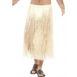 Hawaiian Hula Skirt, Natural, with Velcro Fastening & Adjustable Waist Band, 75cm/29in