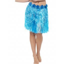 Hawaiian Hula Skirt with Flowers, Neon Blue, with Velcro Fastening & Adjustable Waist Band