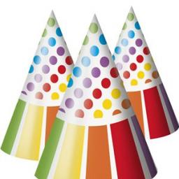 Rainbow Party Cone Paper Hats 8pcs