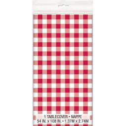 Red Gingham Table Cloth - Plastic 54x108 inch