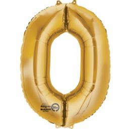 34 inch Super Shape Foil Balloon-Number 0 - Gold