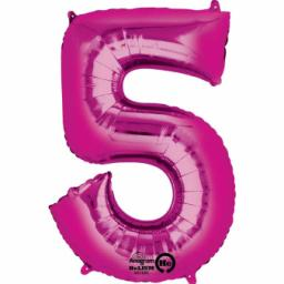 34 in Super Shape Foil Number Balloon Pink No 5