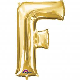 "Letter F Supershape Gold Foil Balloon 34""/""86cm"