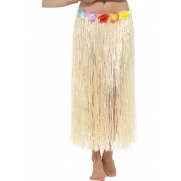 Hawaiian Hula Skirt with Flowers, Natural, with Velcro Fastening & Adjustable Waist Band, 75cm/29in