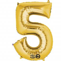 Number 5 Gold Minishape Foil Balloons 16""