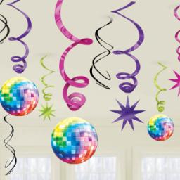 70-80s Disco Hanging Swirls Decorations 12pcs