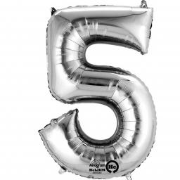 "Number 5 Silver Minishape Foil Balloons 16""/40cm Air-Fill"