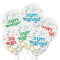 Latex Happy Birthday Printed Confetti Balloons Pack of 6 12 inch