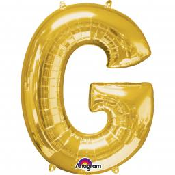 "Letter G Supershape Gold Foil Balloon 34""/""86cm"
