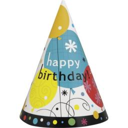 Breezy Happy Birthday Paper Party Hats, Pack Of 8