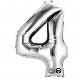 "Number 4 Silver Minishape Foil Balloons 16""/40cm Air-Fill"