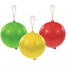 "Punch Balls Assorted Colours Latex Balloons 11""/27.5cm pack of 3"