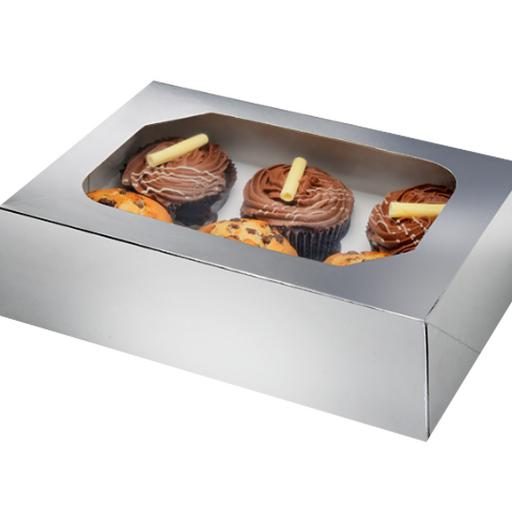 Silver 6 Hole Cupcake Box 2/pack