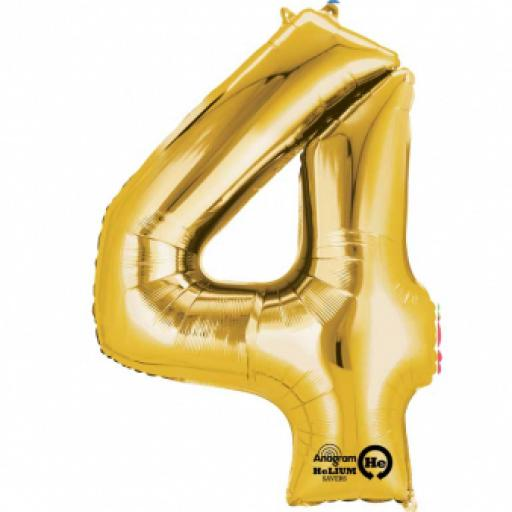 34 in Super Shape Foil Number Balloon Gold No4
