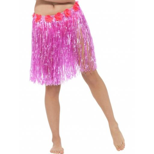 Hawaiian Hula Skirt with Flowers, Neon Pink, with Velcro Fastening & Adjustable Waist Band
