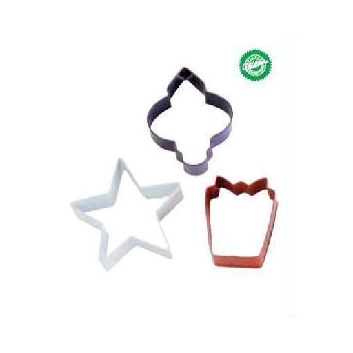 Wilton 3 cookie cutter Holiday Colored Set