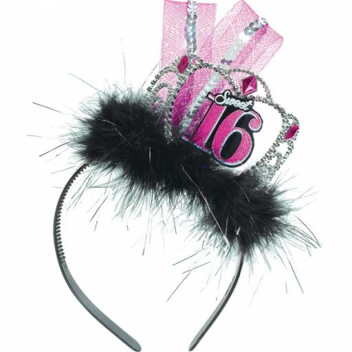 Sweet 16 Headband with feather and ribbon