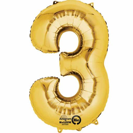 "Number 3 Gold Minishape Foil Balloons 16""/40cm Air-Fill"