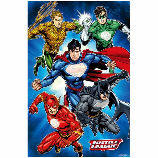 Justice League Party Game Includes: 1poster, 8stickers & 1 paper blindfold
