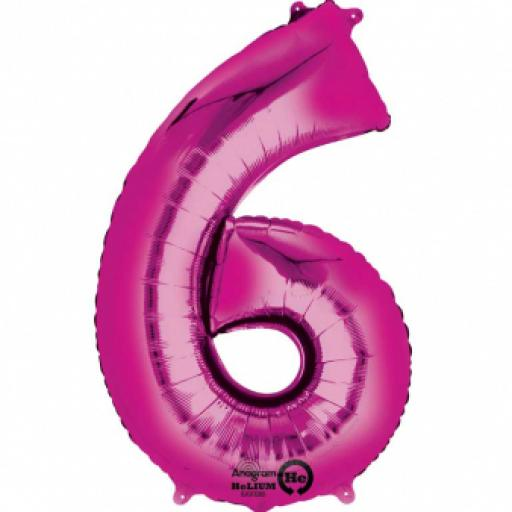 34 in Super Shape Foil Number Balloon Pink No 6