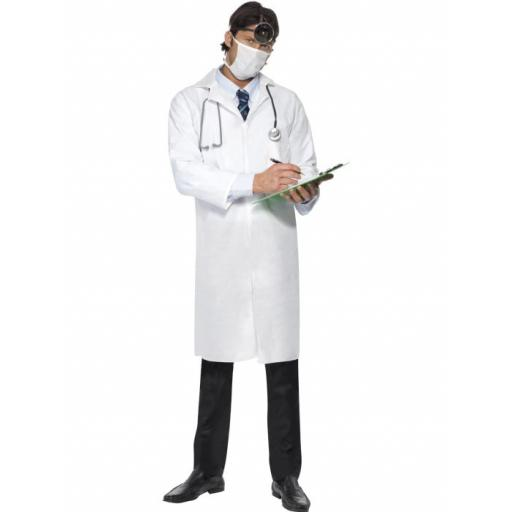 Doctor's Costume, White, with Long Coat & Mask Adult Large Size