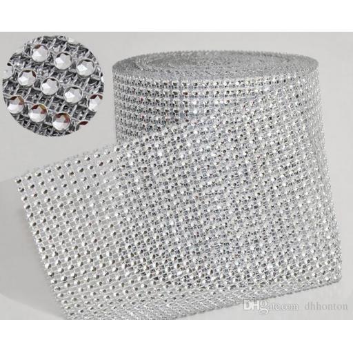 Eleganza Silver Diamond Sparkling Mesh 12cm x 1m