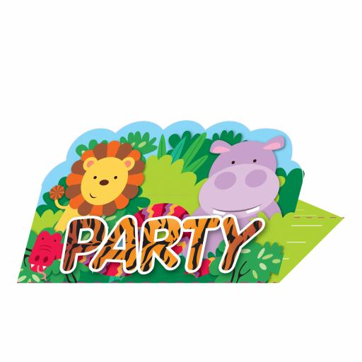 Jungle Friends Stand-up Invitations & envelopes 8 set
