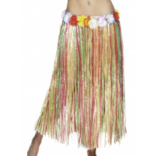 Hawaiian Hula Skirt, Multi-Coloured, with Flowers, Elasticated Waist, 79cm/31 inches