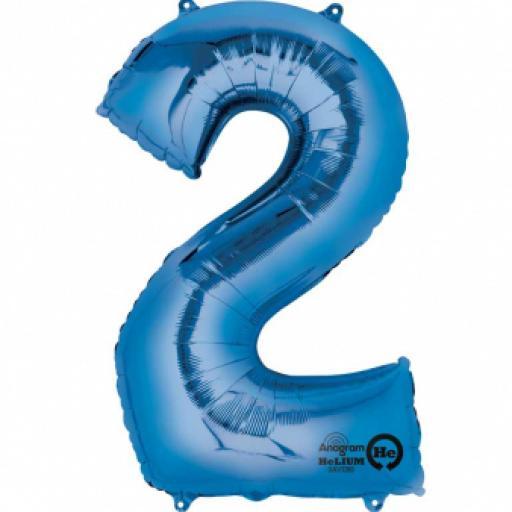 34 in Super Shape Foil Number Balloon Blue No2