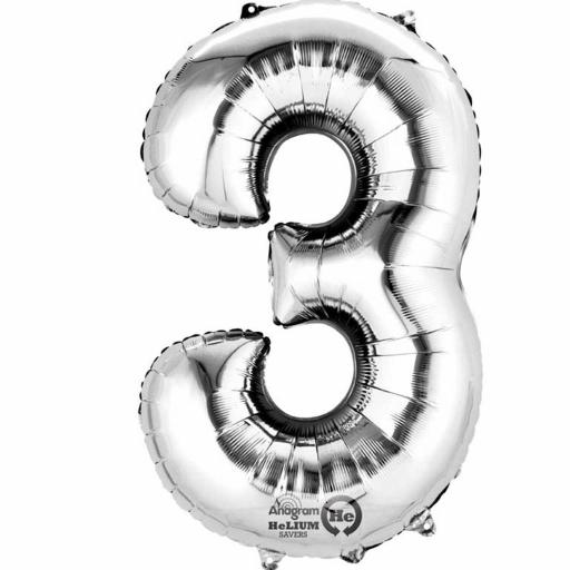 "Number 3 Silver Minishape Foil Balloons 16""/40cm Air-Fill"