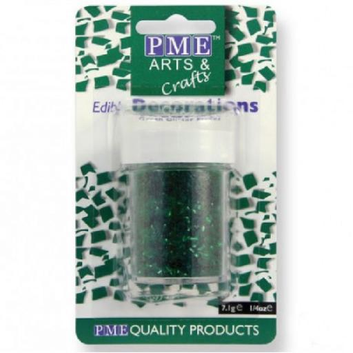 PME Edible Green Glitter Flakes 7g