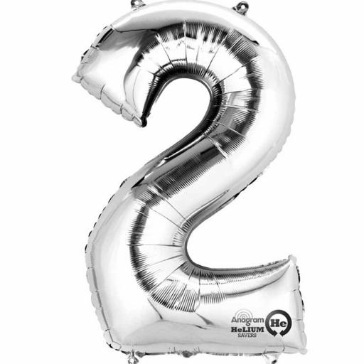 "Number 2 Silver Minishape Foil Balloons 16""/40cm Air-Fill"