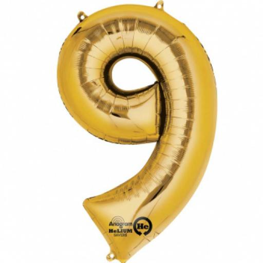 34inch Super Shape Number 9 Gold Balloon