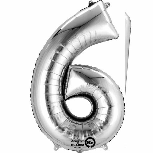 "Number 6 Silver Minishape Foil Balloon 16""/40cm Air-Fill"