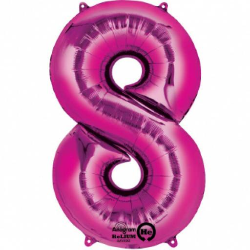34 inch Super Shape Foil Balloon-Number 8 ñ Pink