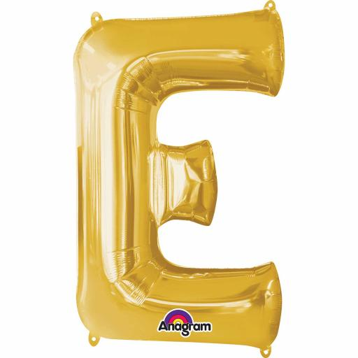 "Letter E Supershape Gold Foil Balloon 34""/""86cm"