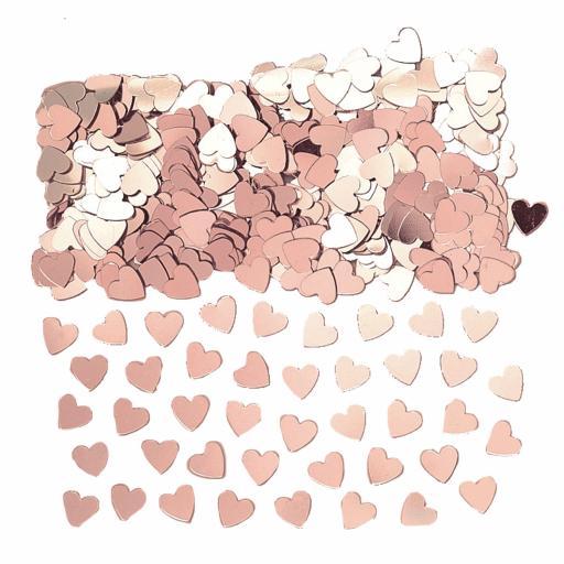 Stardust Rose Gold Heart Shape Foil Confetti 14g