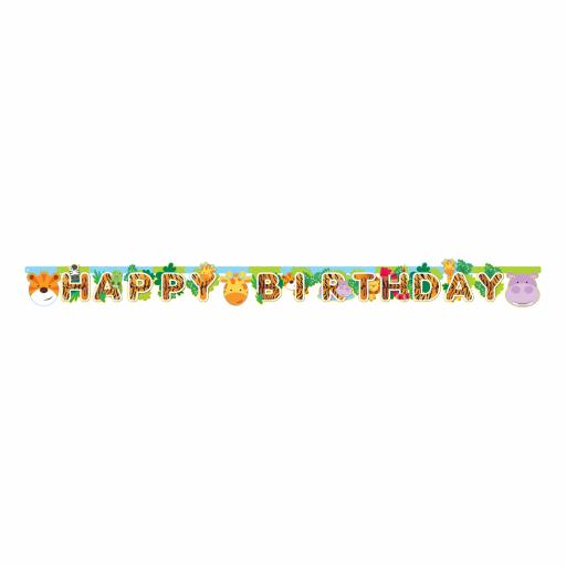 Jungle Friends Happy Birthday Letter Banner 1.7m x 13cm