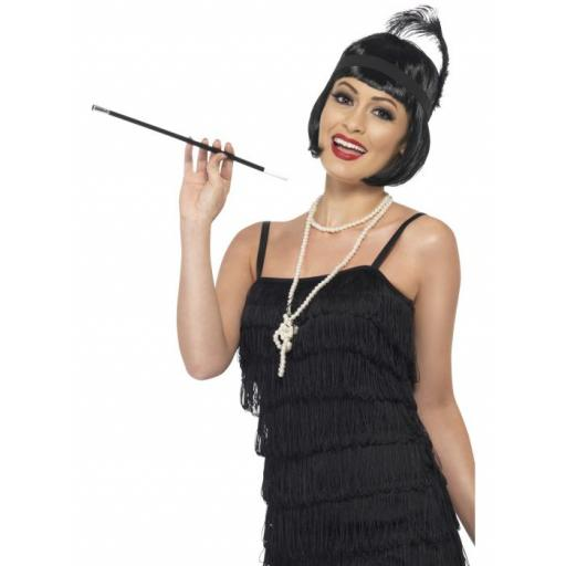 Flapper Instant Kit, Black Wig, Necklace, Headpiece and Cigarette Holder