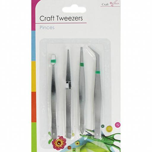 4 Pack Craft Tweezers Set