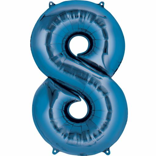 34 inch Super Shape Foil Balloon-Number 8 - Blue