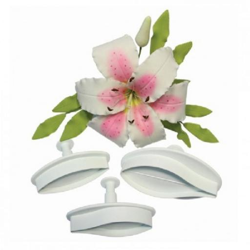 Veined Lily Medium Plunger Cutters Set