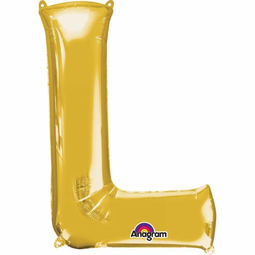 "Letter L Supershape Gold Foil Balloon 34""/""86cm"